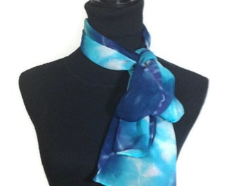 Sky Blue and Navy Hand Dyed Silk 11x60 inches - 27.94x152.4 cm