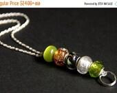 VALENTINE SALE Badge Lanyard. Olive Green ID Lanyard. Green and Amber Badge Necklace. Beaded Badge Holder. Lampwork Glass Lanyard. Handmade