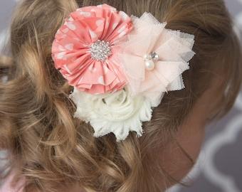 Peach hair clip, ivory hair clip, peach polka dot hair bow, girl birthday gift, flower hair accessories, bridal hair accessories, girl hair