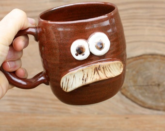Mustache Mug. Pottery Ceramic Face Mug with Bushy Mustache. Rustic Red. Fun Husband Man Gift. Uptight Witty Coffee Cup. Unique Gifts.