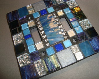 MOSAIC LIGHT SWITCH Plate Cover - Double, Wall Art, Wall Plate, Shades of Blue