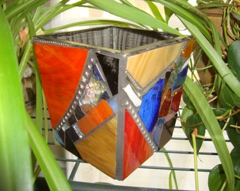 MOSAIC POT, Multicolored, Stained Glass Mosaic