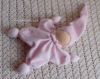 waldorf classic doll for baby girl color pale pink - Cuddle rattle toys - eco friendly gifts for kids toys, Organic Teething toy
