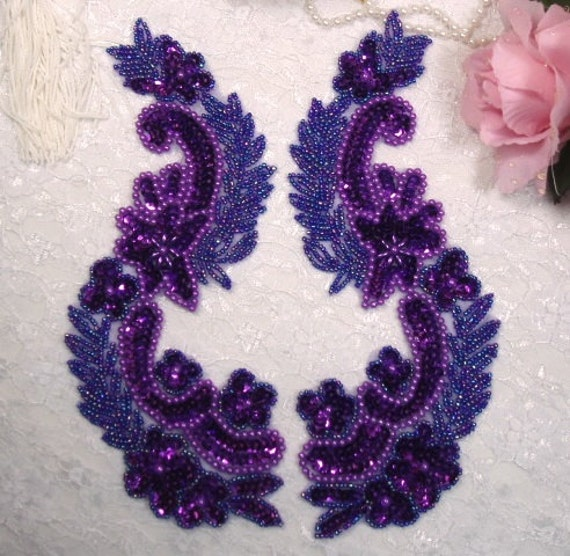 0180 sequin beaded appliques purple mirror pair sewing patch