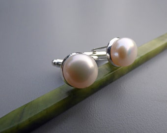 Pearl Cuff Links - Groomsmen Gift - Classic Genuine White Pearl Cufflinks