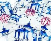 Blue and White Geisha Flannel Monogram Pajamas size LARGE