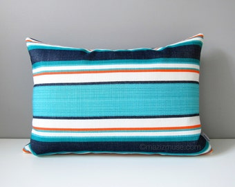 Blue Striped Outdoor Pillow Cover, Decorative Throw Pillow Cover, Turquoise & Navy, Melon White Stripes, Sunbrella Pillow Cushion Cover