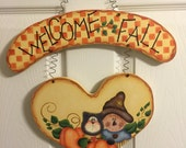 Welcome Fall Scarecrow and Cat Fall Door Wall Decoration