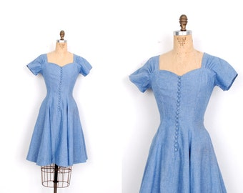 Vintage 1980s Dress / 80s Chambray Fit and Flare Mini Dress / Blue (small S)