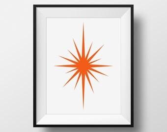 Mid Century Modern, Orange Starburst, Retro Art, Orange Mid-Century Modern Print, Orange Decor, Starburst Art, 1960's Style Print