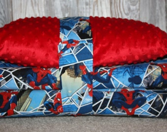 Kinder mat cover - Spiderman with Red Minky - Ready To Ship