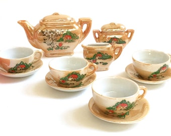 Vintage 1950s Japan Porcelain Toy Tea Set in Box / Service for 4 / Pearly Peach China, Hand Painted Home and Garden Scene