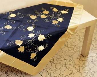 Navy Blue Satin Tablecloth, Gold Trim, Square Table Cloth, Modern Home Decor, Vintage Handmade