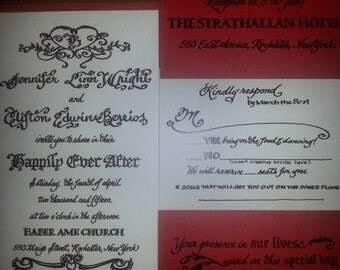 Handwritten calligraphy wedding invitations with colors and artwork