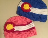 Colorado Flag Hat - Colorado Flag Beanie - CO State Flag Basketweave Brim Beanie ALL sizes from Newborn to Adult