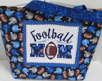Football Mom Large Tote Bag Football Season Game Shoulder Bag Royal Blue Football Purse Ready To Ship