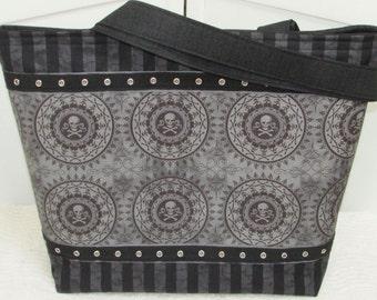 Grey Skull Pirate Large Tote Bag  ,Alternative Fashion Skull Tote , Skull Medallion Market bag , Black Stripe Shoulder Bag , Ready To Ship