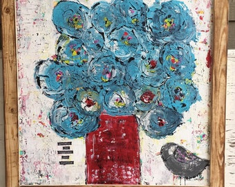 Whimsical flower painting, 20 x 20 canvas with wood frame, blues and reds, abstract flower painting with bird,