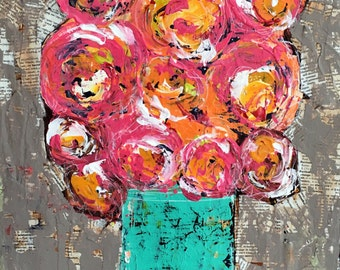 flower art reproduction, canvas giclee reproduction,pinks and orange flowers, whimsical, mixed media art