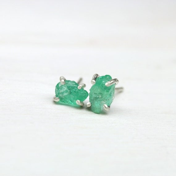 Tiny Raw Emerald Silver Stud Earrings 4 Prong Pale Bright