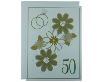 Large 50th Anniversary Card Handmade - Gold 50th Wedding Anniversary Handmade Greeting Card - 8.5 X 11.5 inches - Gold Floral Collage Card