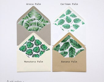 Tropical Palm Leaf - Printed Envelope Liners - Each Pack comes with 25 liners