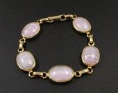 Pink Bracelet, Sarah Coventry Bracelet, Pink Shadows Bracelet, Glass Bracelet, Gold Link Bracelet, Pink Glass Bracelet