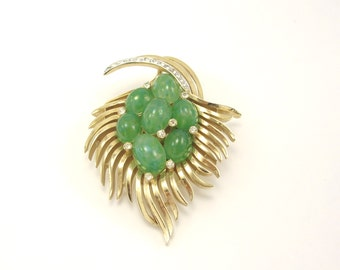 Trifari Jewels of India Brooch, Trifari Faux Jade Brooch, Green Trifari Brooch, Rare Trifari Brooch