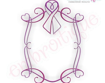 Pink Curly Heart Font Frame - Breast Cancer Awareness Ribbon - Instant Download