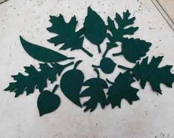 Wool Felt Leaves -  Dark Green