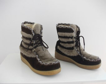 70s Wedge Faux Fur Snow Boots, Size 7