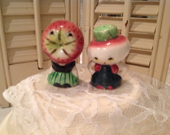 Anthropomorphic Salt and Peppers ~ Collectible Salt and Pepper Shakers ~ Apple Head and Onion Head ~ Novelty Salt and Pepper  Shakers