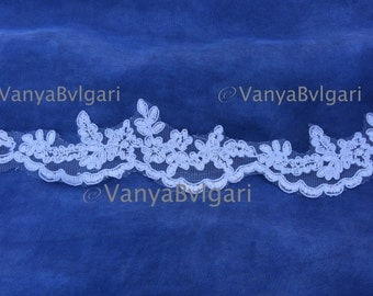 """Alencon lace, Re-embroidered  alencon Lace 1.5"""" wide, lace trim for bridal veils, wedding dresses and craft projects lace edge"""