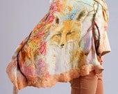 Felted Shawl Hand Painted Silk Shawl Nuno Felted Shawl Fox Scarf Custom Made