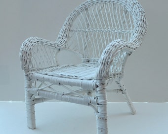 Vintage White Wicker Doll Chair Shabby Chic Home Decor