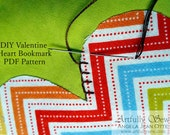 Instant Download PDF Pattern Valentine Heart Bookmark Fabric Hand Sewing and Fusing Printable 1601
