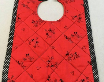 """Mickey and Minnie Mouse Bib 10"""" x 12"""" FREE SHIPPING"""