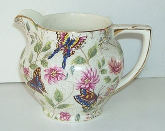 Vintage Royal Tudor Ware Barker Bros Chintz China Pitcher, Flying Butterflies, Gold Trim, Porcelain Pitcher, Made In England