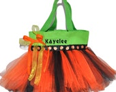 Tutu Bag, Pumpkin Tutu Halloween Bag. Tutu Tote Bag With FREE Monogram Name Embroidered on it, Personalized Girl Dance Bag, Halloween Bag