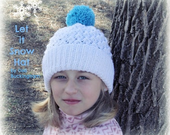 Knit Hat Pattern, Brimmed Beanie Hat Pattern (Child, Adult Sizes), Knitting Pattern