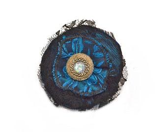 Lapel Pin, scarf pin, hat pin, fabric flower pin, blue / black flower brooch, fiber art corsage, OOAK