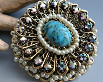 Seed Pearl Turquoise Costume Pendant Pin Vendome Style
