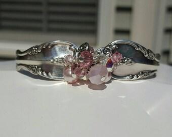 Vintage Pretty in Pink Silver Spoon Cuff Bracelet