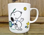 Vintage Snoopy and Woodstock Peanuts by Schulz My Serve Tennis Mug