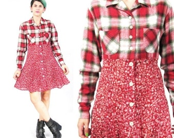 25% off SALE 90s Grunge Plaid Floral Dress Flannel Shirt Dress Long Sleeve Dress Red Mixed Print Dress Button Down Collared Babydoll Dress (