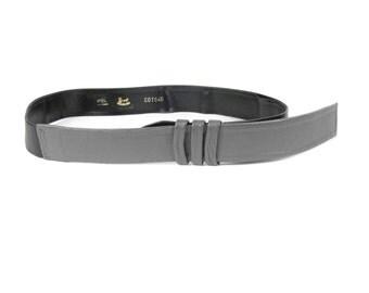 Vintage Leather Belt Black & Grey Leather Belt Two Tone Modern Belt Modernist Art Waist Belt Womens Vintage Leather Belt 1980s Obi Belt(S/M)