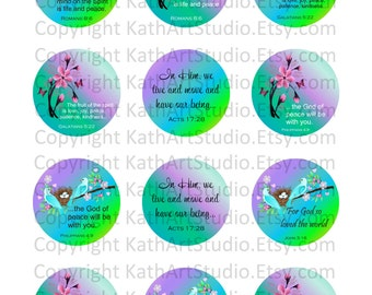 Instant Download - Scripture Bible Verses Collage Sheet - 2 inch circles for pendants, magnets, cupcake toppers, etc. 333