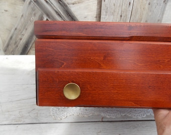 Vintage Silverware Chest with pull Out Tray Flatware Storage Box Chest Mahogany Solid Wood Dovetail Joints