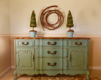 French Provincial Buffet Dining Room Server French Country Restored in Provence Blue Chalk Paint