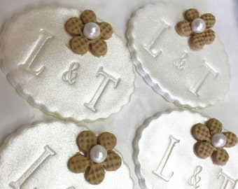 Fondant Cupcake Topper Initials, Burlap and Pearl Flowers - Bridal shower, weddings, engagement party
